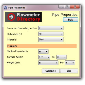 Pipe Properties Calculator for Windows 7